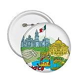 DIYthinker México Bandera Cultura famoso lugares turísticos botón Graffiti pernos redondos Placa Ropa Decoración regalo 5Pcs L Multicolor