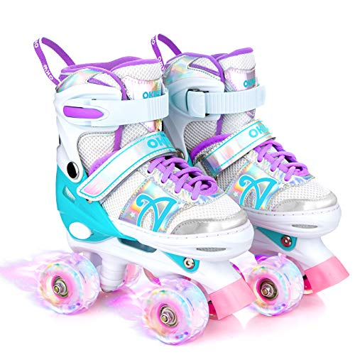 Verstellbare Rollschuhe für Kinder in 2 Größen für Mädchen und Jungen, Indoor Outdoor Skates mit Rädern, leuchtend, für Mädchen (M, Rot)