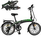 Bicicleta electrica Plegable Velocidad máxima de conducción 25 km/h Bicicletas eléctricas de montaña Plegable Ebike Pantalla LCD de batería de Iones de Litio Explore el Hermoso Paisaje con. Negro