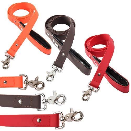 PetTec Führleine 2m aus Trioflex, Wetterfest, Wasserabweisend, Robuste Hundeleine in Rot, Braun, Orange