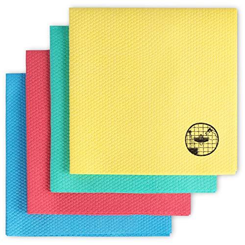 Bella-Easy Dauerhaft Antibakterielle Mikrofaser-Tücher | Feine, Stabile und Reinigungsaktive Putztücher | 4-er-Pack