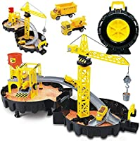 Construction Toys Car Garage Playset Include 2 Die-cast Construction Trucks, Parking Lot, Traffic Road Sins, Ramp Racing Set, Play Vehicles for Kids Birthday Gift