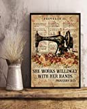 Proverbs 31 Sewing She Works Willingly With Her Hands Machine Rose Flower Wall Art Hanging Vintage Poster Painting Canvas Paper Abstract Watercolor Living, Classroom, Home Decor, No Frame (12''x18'')