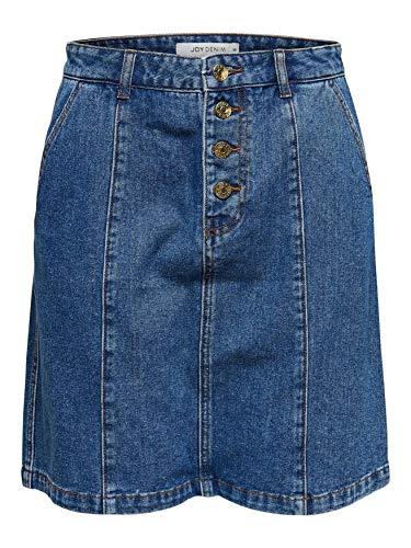 EGOMAXX JDY Damen Jeansrock Knöpfe Midi Skirt Kurz D2651, Farben:Blau, Größe:38
