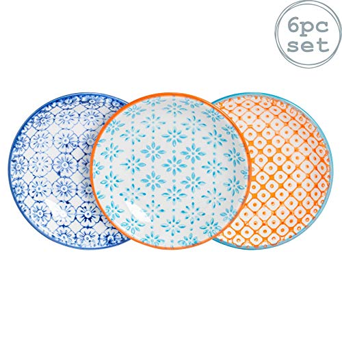 Nicola Spring Kleine, gemusterte Reis/Sojasauce/Olivenöl/Dip-Schale - 101 mm - 6er Packung