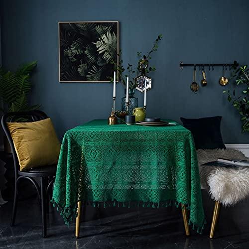 Aooaz Manteles Tela, Mantel Mesa Impermeable Sabana de Algodon 140X220cm Verde Vintage Hueco con Borlas