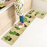 Wolala Home Natural Rubber Non-Slip Absorbent Oil Proof Kitchen Rug and Carpet Cactus Comfortable Resist Fatigue Foot Mats 2pcs Sets(18''x29''+18''x59'')