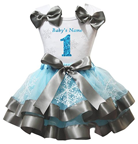 Petitebelle Filles Sparkle nom chemise blanche de 1 à 6 flocon bleu jupe pétale Nb-8y 3-12 mois 1er