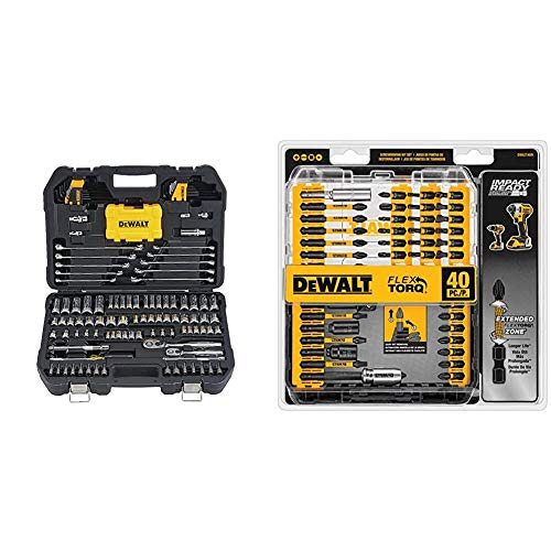 DEWALT Mechanics Tools Kit and Socket Set, 142-Piece (DWMT73802) & Screwdriver Bit Set, Impact Ready, FlexTorq, 40-Piece (DWA2T40IR),Black/Silver IMPACT READY FlexTorq Screw Driving Set, 40-Piece
