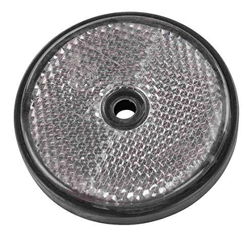 Rückstrahler | rund | weiß | Ø 60 mm | zum Anschrauben | Trecker | Reflektor | Schlepper | Verkehr | verkehrssicher
