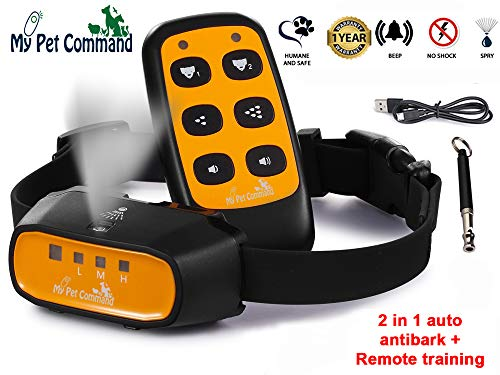 My Pet Command 2 in 1 Auto Citronella bark remote dog training collar Safe Humane for pets Anti bark spray collar with advanced bark detection mode Adjustable sensitivity levels Bonus training whistle