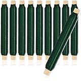 com-four® 10x Blumenwickeldraht-Set, Bindedraht in grün auf Holzstab gewickelt, Stärke 0,65 mm, 1000 g