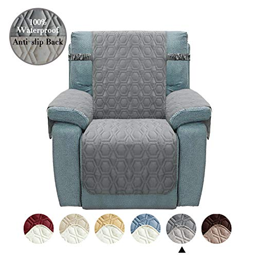 Chenlight Recliner Slipcover Furniture Protector Slip Resistant Waterproof Stain Resistant Machine Washable Sofa Cover for Kids Children Pets Dog Cat(Recliner:Grey)