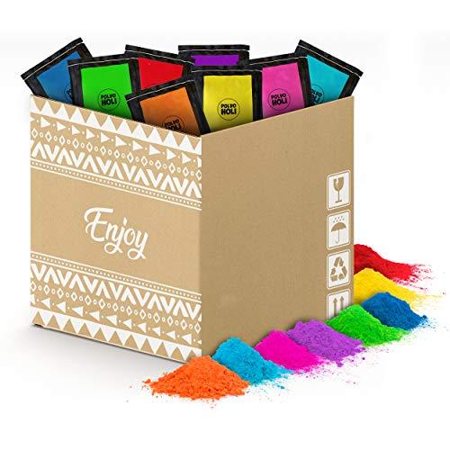 80 Beutel mit 100g Pulver Holi - Holi Gulal Powder - 8 Farben