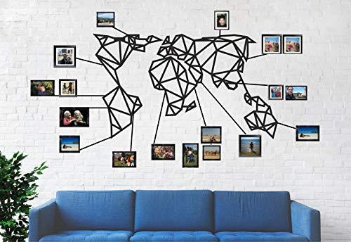 DekadronCarte du monde géométrique Décoration murale en métal 3D Art déco 40'W x 23'H / 101x58cm noir