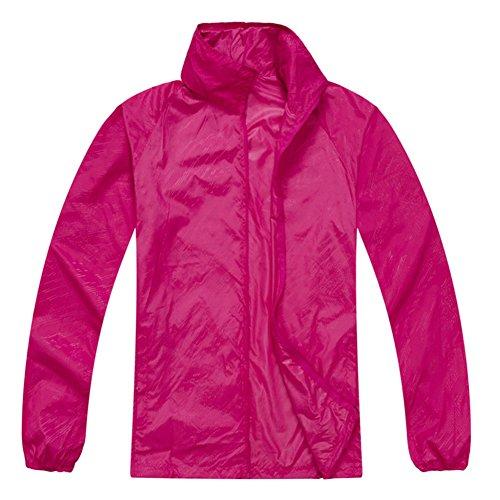 SODIAL(R) Veste de l'impermeable etanche resistant au vent unisexe du sport de course cycliste a l'exterieur - Rose rouge, XL