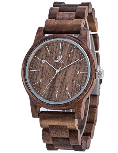 Orologio di legno elegante e alla moda, in legno di sandalo naturale 100%
