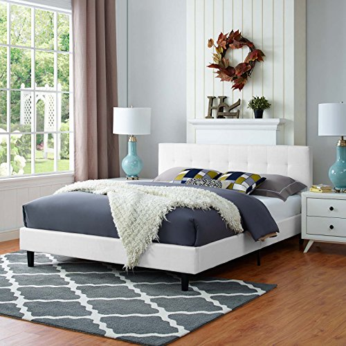 Modway Linnea Upholstered White Queen Platform Bed with Wood Slat Support