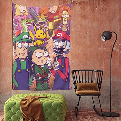 Super Mario Rick Morty Tapestry Wall Hanging Home Decor TV Backdrop Living Room Bedroom Dorm Bedding Tapestry 60 X 90 In