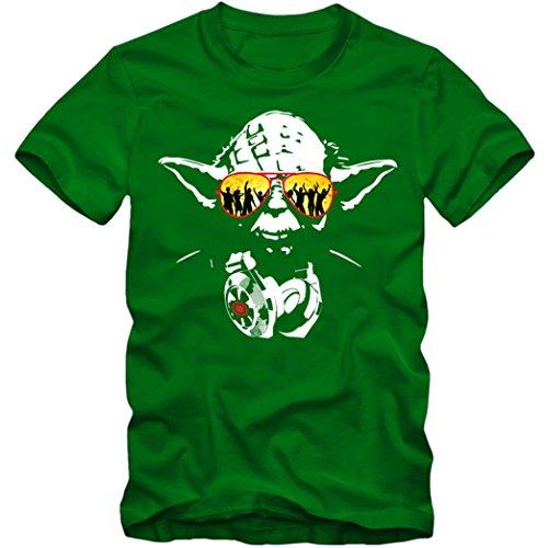 Joda #1 T-Shirt Master Joda DJ Meister Joda Science Fiction Episode Kinofilm TV Herren Shirt, Farbe:Hellgrün (Kelly Green L190);Größe:M