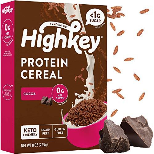 HighKey Protein Snacks - Keto Breakfast Cereal - 0 Net carb & Zero Sugar, Grain & Gluten Free Cereals Snack - Non GMO Food - Paleo, Diabetic, Ketogenic Friendly Flakes - Healthy Grocery Foods - Cocoa