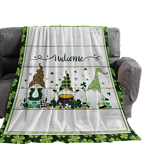 Possta Decor Saint Patrick's Day Celtic Clovers Leaves Throw Blanket, Lightweight Cozy Warm Throws Dwarf with Horseshoe, Super Soft Fuzzy Plush TV Blankets for Living Room Bedroom Bed Couch Chair