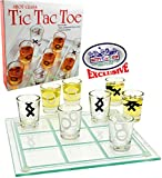 "Matty's Toy Stop Tic-Tac-Toe, Three in A Row Shot Glass Drinking Game with 9 Shot Glasses and Glass Game Board (10"" x 10"")"
