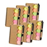 Juvale Kraft Cover Mini Spiral Notepads with Pen Sticky Notes (69 Sheets, 6-Pack)
