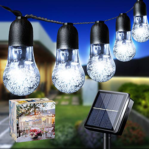 LiyuanQ Solar String Lights Garden 33Ft 50LED Solar String Bulb Lights Outdoor 8 Mode Waterproof Decorative Crystal Bubble Ball Fairy Light for Patio Yard Home Tree Wedding Christmas Party(Cool White)
