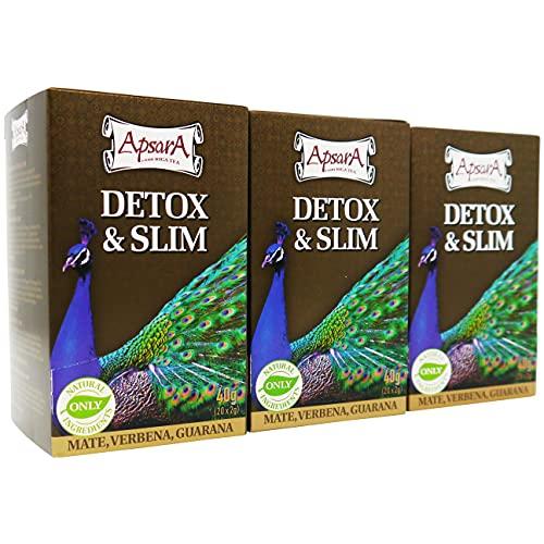 Apsara Detox Tee und Slim Tea in Beutel, unterstützt Entschlackungskur, Abnehm Kräutertee 3 er Set (60 Teebeutel), Stoffwechsel anregen und wirkt verdauungsfördernd zum Aufbau der Darmflora
