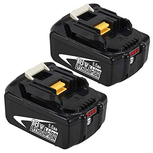 2 Stück BL1850B 5.0Ah Lithium Ersatzakkus für Makita 18V Akku BL1860B BL1860 BL1850 BL1845 BL1840B BL1840 BL1835 BL1830B BL1830 LXT-400 mit Indikator