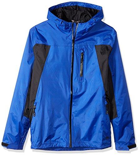 Wrangler Men's Waterproof Zip Front Rain Jacket-Big and Tall, Blue, LT