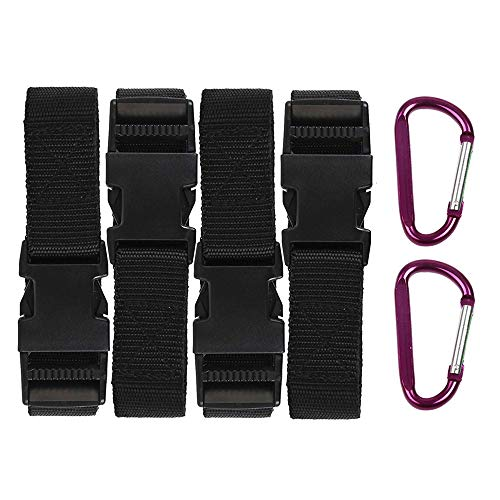 RORAIMA 2X 4FT(48inch),2X 6FT(72inch) Heavy Duty Adjustable Tie Down Straps Securing Straps,with 2X Carabiner Hooks
