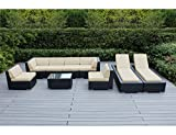 Ohana 9-Piece Outdoor Patio Furniture Sectional Sofa and Chaise Lounge Set, Black Wicker with Sunbrella Antique Beige Cushions - No Assembly with Free Patio Cover