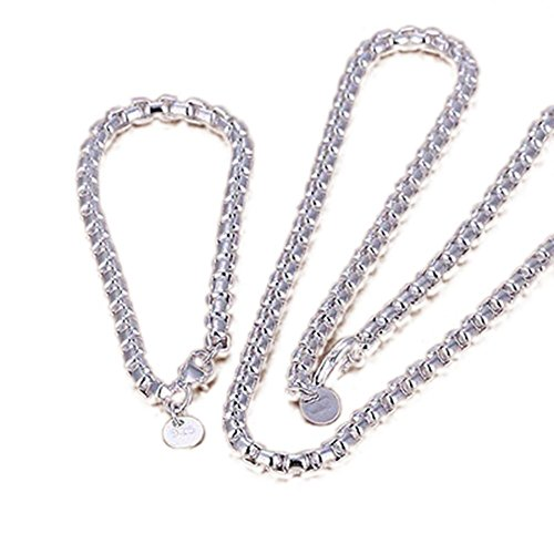 Yonisun 925 Sterling Silver Bracelet and Necklace Sets ZBS058