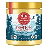 Himalayan Pink Salt Grass-Fed Ghee Butter by 4th & Heart, 16 Ounce, Keto, Pasture Raised, Non-GMO, Lactose Free, Certified Paleo