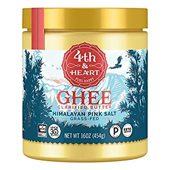 Himalayan Pink Salt Grass-Fed Ghee Butter by 4th & Heart 16 Ounce Keto Pasture Raised Non-GMO Lactose Free Certified Paleo