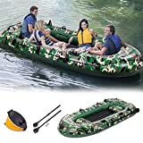 Rpvati 10Ft Inflatable Boat, 4-Person Camouflage Inflatable Dinghy with 2 Paddles, Max Load 700 lbs Inflatable Dinghy Boats Raft for Water Sports【US in Stock】 (10FT)