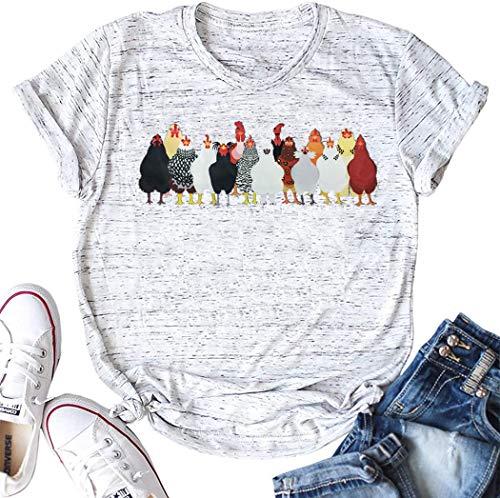 Womens Chicken T Shirt Farm Life Tees Farm Girl Casual Tee Tops Cute Funny Summer Short Sleeve Shirts (XL, Light Grey)