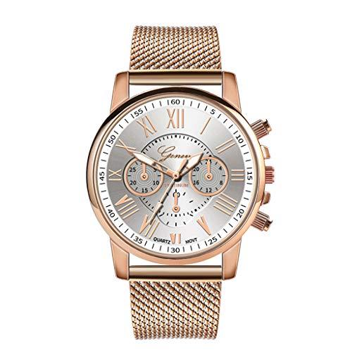 BBestseller Relojes Mujeres,Moda Accesorios Cuarzo Acero Inoxidable Relojes Fecha Reloj de Pulsera Casual Simple para Mujer (Blanco)