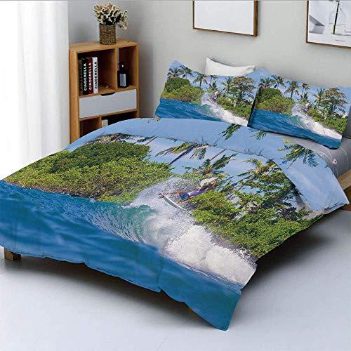 Juego de funda nórdica, surfista en el océano por la isla de Bali Palmeras Paisaje de ensueño Naturaleza Juego de cama decorativo de 3 piezas con 2 fundas de almohada, verde helecho azul violeta, el m