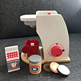 Neuheit Spielzeug Kinder Holz Pretend Play Sets Pretend Toaster Brot Maker Kaffee Maschine Spiel Kinder Spielzeug Mixer Küche Pädagogisches Spielzeug Kid Weihnachtsgeschenk (Farbe: Kaffeemaschinenset)