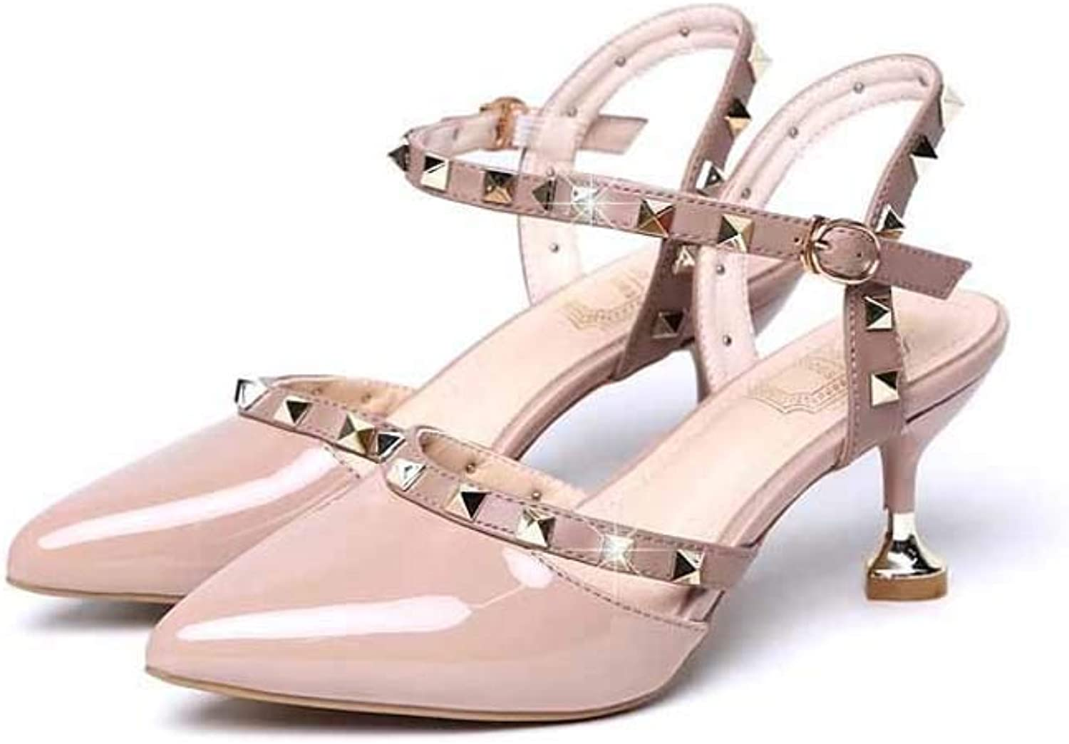 Women Pointed Studded Stiletto Heel Court shoes,Ladies Party T-Bar Ankle Strap Mid Kitten Heel Party Sandals