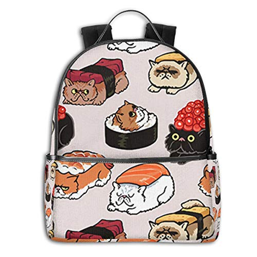 Black Roller Rice Cute Japanese Best SushiSide Themed Casual Shoulders Backpack Travel Mini Bookbag Book Back School Bag for Girls Boy Women Men merchandise