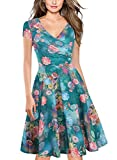 oxiuly Women's V-Neck Cap Sleeve Floral Casual Cocktail Party Swing Dress OX233 (L, Green)