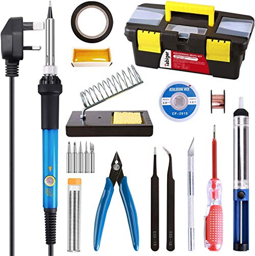 Tabiger Soldering Iron Kit, Upgraded 21-in-1 Soldering Iron Welding Set with 5pcs Extra Tips, Desoldering Pump, Soldering Iron Stand, Tin Wire, Flux, Wire Cutter, Tweezers, Screwdriver, Tool Case