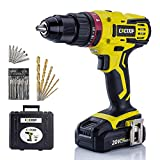 CACOOP 20v cordless hammer drill set with battery and charger,442lbs/50nm torque,21+3 position,2Ah...