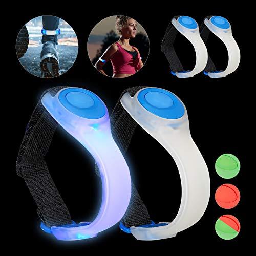 Relaxdays 4 x LED Armband, Jogginglicht blinkend oder durchgehendes Leuchten, Jogging, Laufen, Wandern, Sicherheitslicht, blau