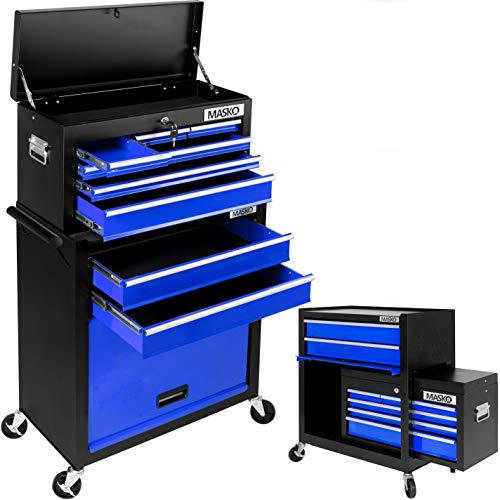 MASKO® Werkstattwagen inkl. Koffer - 9 Fächer Blau ✓ Abschließbar ✓ Massives Metall | Mobiler Werkzeug-Wagen ohne Werkzeug | Profi Werkstatt-Wagen | Rollwagen zur Werkzeugaufbewahrung mit Schloss |