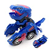 Kidsonor Kids Transformed Dinosaur Robot Car, Electronic Dino Robot Vehicle Car Toy Battery Power with LED Light Music (Blue)